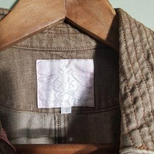 Rebecca Taylor Jackets & Coats - Rebecca Taylor tan denim crop moto jacket sz 2